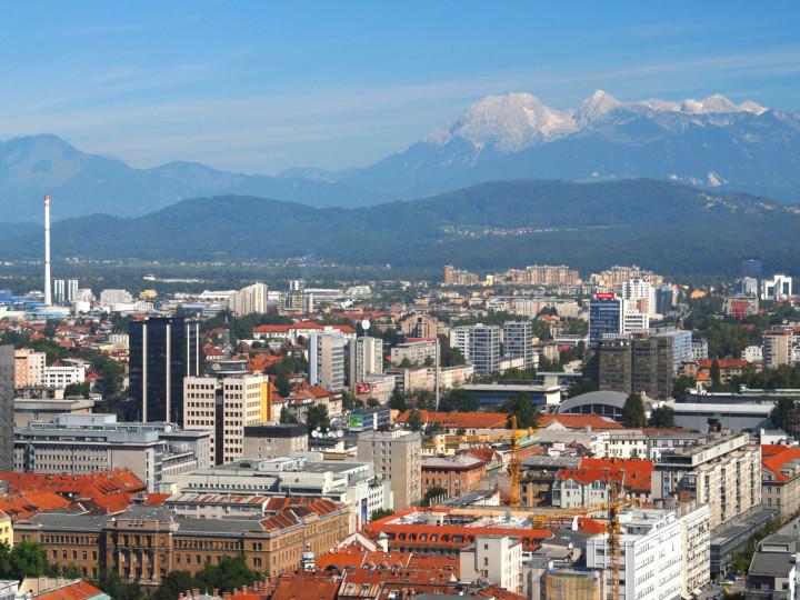 Aerial view on a city ljubljana, Slovenia, Europe